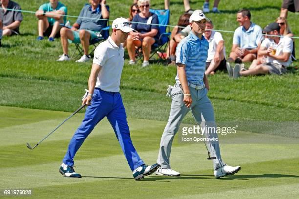 PGA golfers Justin Thomas and Jordan Spieth walk the 14th fairway during the Memorial Tournament Third Round on June 03 2017 at Muirfield Village...