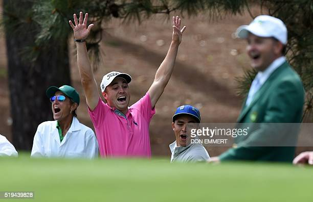 US golfers Justin Thomas and Rickie Fowler celebrate after both made a holeinone at the 4th during the Par 3 contest prior to the start of the 80th...