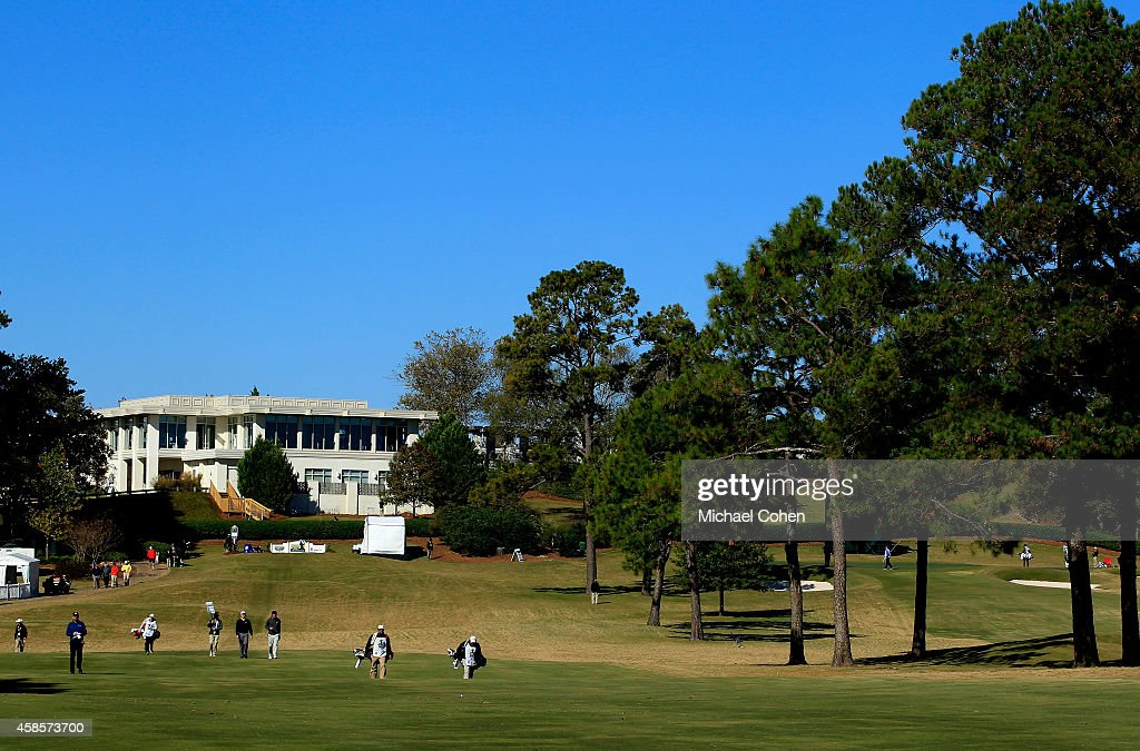 Golfers make their way up the 9th fairway during round two of the Sanderson Farms Championships at The Country Club of Jackson on November 7 2014 in...