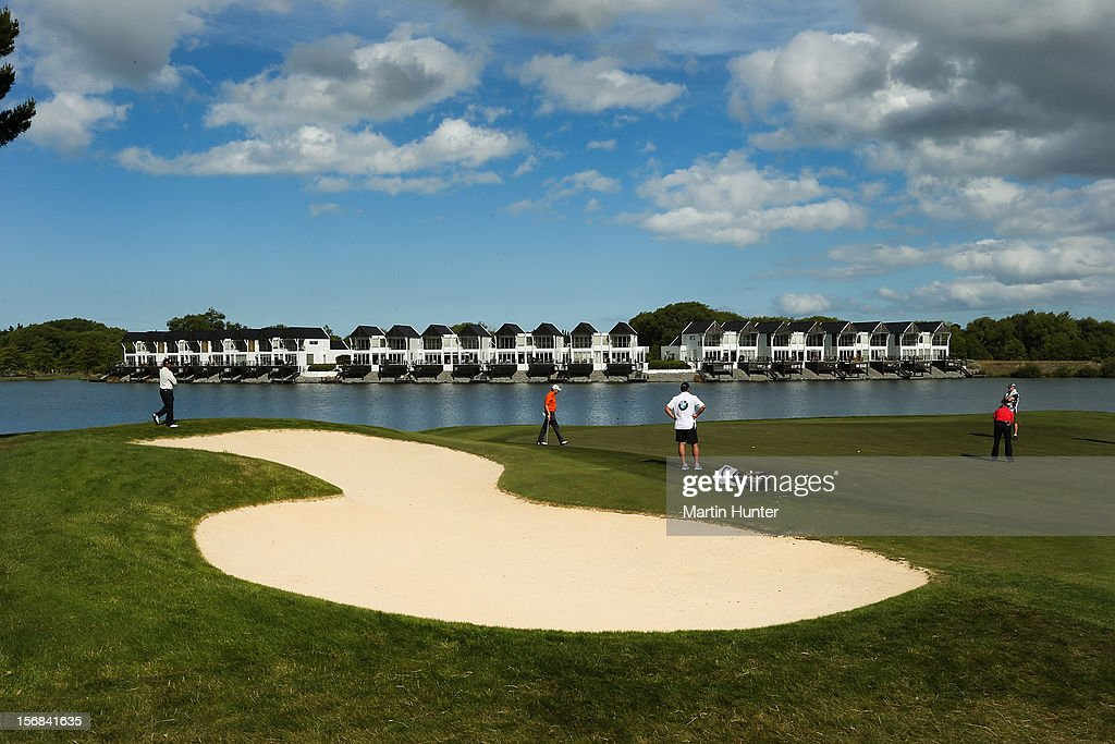 Golfers play a shot on the 8th hole during day two of the New Zealand Open Championship at Clearwater Golf Course on November 23, 2012 in Christchurch, New Zealand.