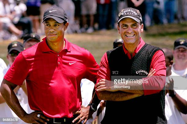 Golfers Tiger Woods left and Rocco Mediate stand at the awards table after Woods won 108th US Open at Torrey Pines Golf Course in La Jolla California...