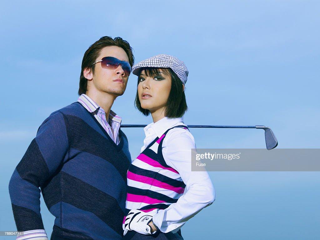Golfing Couple : Stock Photo