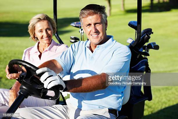 Golfen paar Lächeln