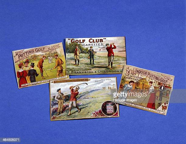 Golfing ephemera c1920s Includes cigarette box putting handbook meat packet and indoor putting game