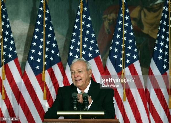 Golfing legend Arnold Palmer speaks after recieving the Congressional Gold Medal during a ceremony at the US Capitol on September 12 2012 in...