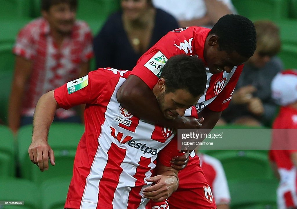Golgol Mebrahtu of the Heart celebrates his goal with Josip Tadic during the round 10 A-League match between the Melbourne Heart and the Perth Glory at AAMI Park on December 8, 2012 in Melbourne, Australia.