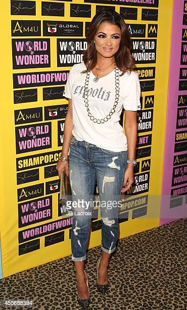 Golnesa 'GG' Gharachedaghi attends a private art exhibition of Hollywood's favorite Pop Culture artist Sham Ibrahim on September 18 in Hollywood...