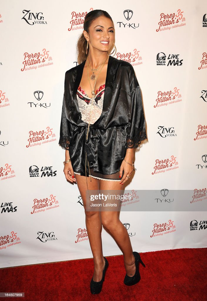 Golnesa 'GG' Gharachedaghi attends Perez Hilton's 35th birthday party at El Rey Theatre on March 23, 2013 in Los Angeles, California.