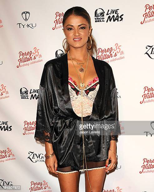 Golnesa 'GG' Gharachedaghi attends Perez Hilton's 35th birthday party at El Rey Theatre on March 23 2013 in Los Angeles California