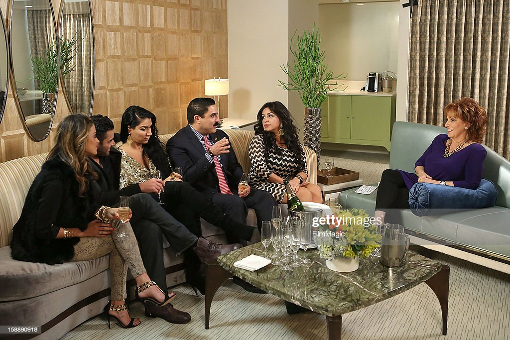 Golnesa 'GG' Gharachedaghi, Mike Shouhed, Asa Soltan Rahmati, Reza Farahan, Mercedes 'MJ' Javid and Joy Behar attend the Joy Behar Set Photography For Current TV at The London Hotel on January 2, 2013 in West Hollywood, California.