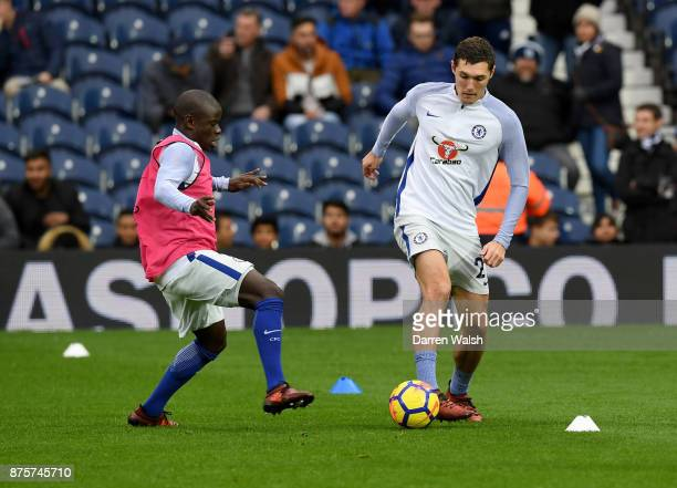 Golo Kante and Andreas Christensen of Chelsea warm up prior to the Premier League match between West Bromwich Albion and Chelsea at The Hawthorns on...