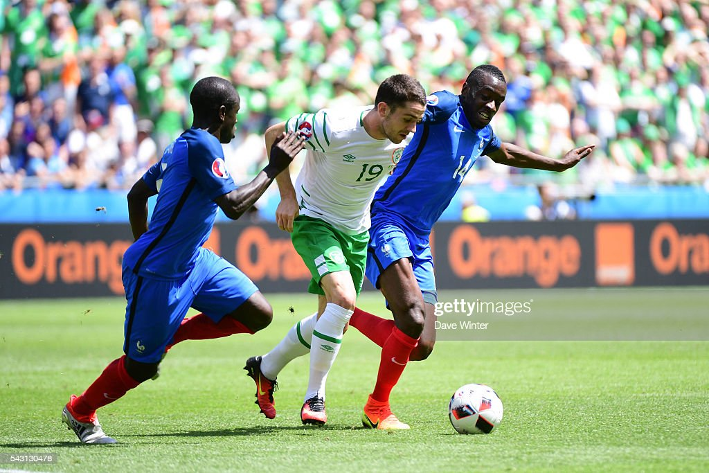 N'Golo Kante and Blaise Matuidi of France and Jonathan Brady of Ireland during the European Championship match Round of 16 between France and Republic of Ireland at Stade des Lumieres on June 26, 2016 in Lyon, France.