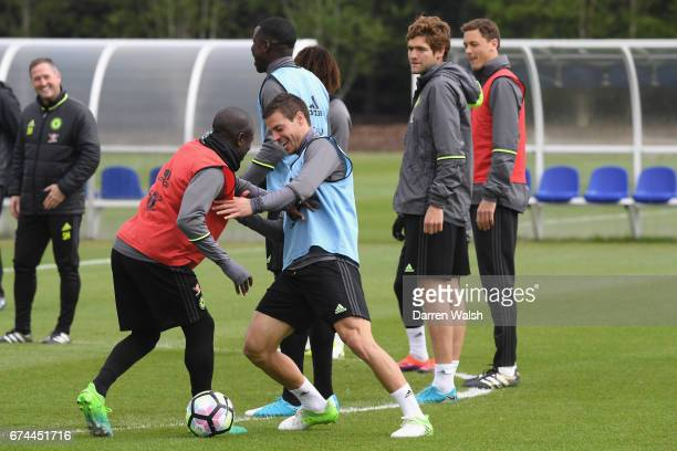 Golo Kante and Cesar Azpilicueta of Chelsea during a training session at Chelsea Training Ground on April 28 2017 in Cobham England