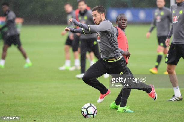 Golo Kante and Eden Hazard of Chelsea during a training session at Chelsea Training Ground on May 19 2017 in Cobham England