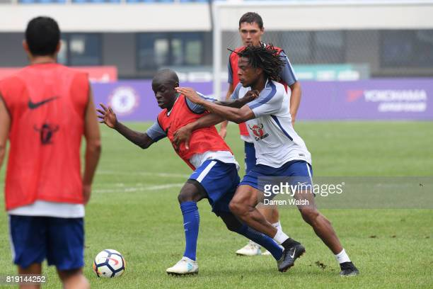 Golo Kante and Loic Remy of Chelsea during a training session at the AOTI Stadium on July 20 2017 in Beijing China