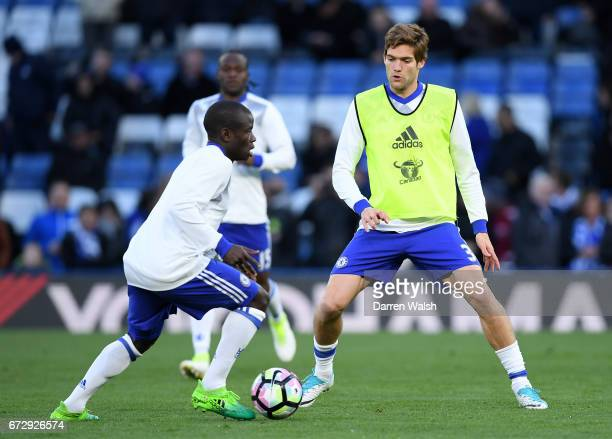 Golo Kante and Marcos Alonso of Chelsea warm up prior to the Premier League match between Chelsea and Southampton at Stamford Bridge on April 25 2017...