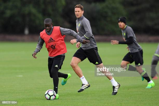 Golo Kante and Nemanja Matic of Chelsea during a training session at Chelsea Training Ground on May 19 2017 in Cobham England