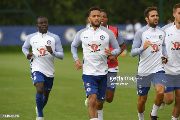 Golo Kante Cesc Fabregas and Lewis Baker of Chelsea during a training session at Chelsea Training Ground on July 14 2017 in Cobham England