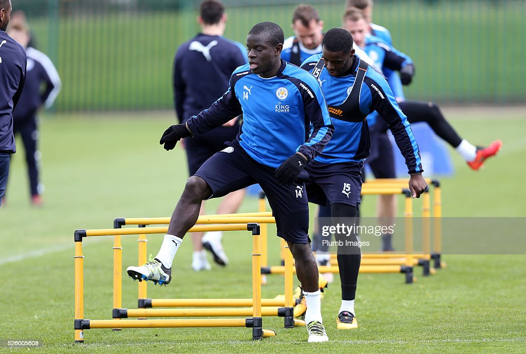 N'Golo Kante during the Leicester City training session at Belvoir Drive Training Complex on April 29, 2016 in Leicester, United Kingdom.