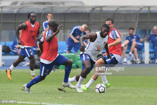 Golo Kante Jeremie Boga and Cesar Azpilicueta of Chelsea during a training session at the AOTI Stadium on July 20 2017 in Beijing China