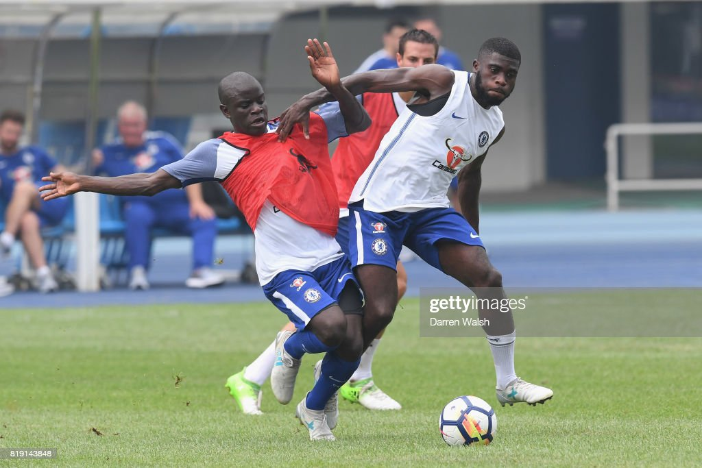 N'Golo Kante, Jeremie Boga of Chelsea during a training session at the AOTI Stadium on July 20, 2017 in Beijing, China.
