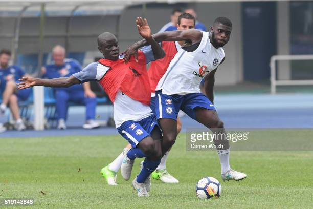Golo Kante Jeremie Boga of Chelsea during a training session at the AOTI Stadium on July 20 2017 in Beijing China