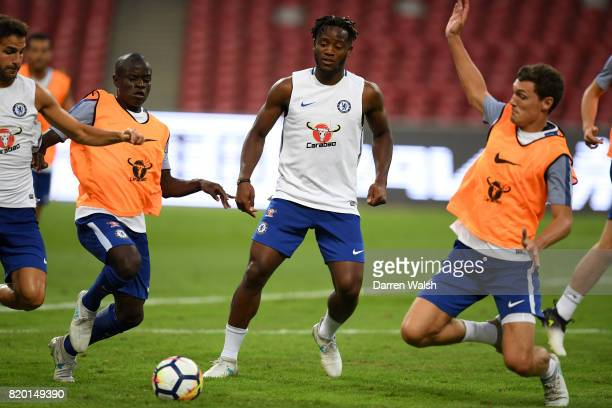 Golo Kante Michy Batshuayi and Andreas Christensen of Chelsea during a training session at the Birds Nest Stadium on July 21 2017 in Beijing