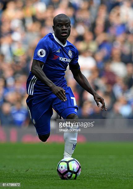 Golo Kante of Chelschallenges in action during the Premier League match between Chelsea and Leicester City at Stamford Bridge on October 15 2016 in...