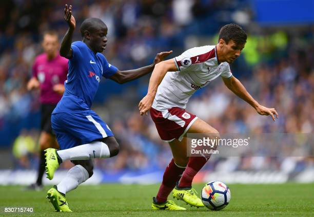 Golo Kante of Chelsea and Jack Cork of Burnley battle for possession during the Premier League match between Chelsea and Burnley at Stamford Bridge...