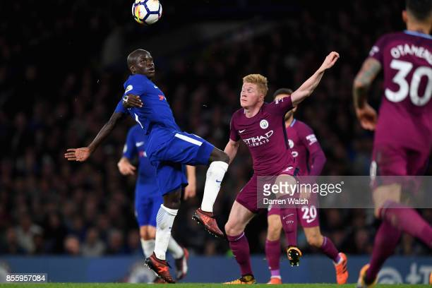 Golo Kante of Chelsea and Kevin De Bruyne of Manchester City battle for possession during the Premier League match between Chelsea and Manchester...