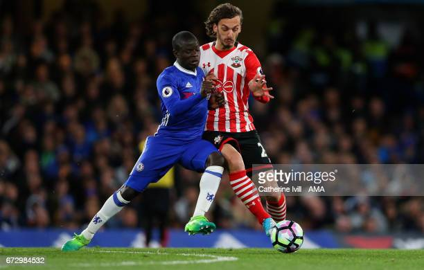 N'golo Kante of Chelsea and Manolo Gabbiadini of Southampton during the Premier League match between Chelsea and Southampton at Stamford Bridge on...
