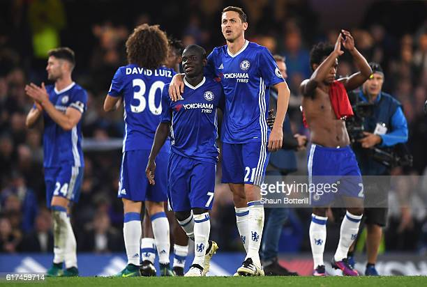 Golo Kante of Chelsea and Nemanja Matic of Chelsea react after the full time whistle during the Premier League match between Chelsea and Manchester...