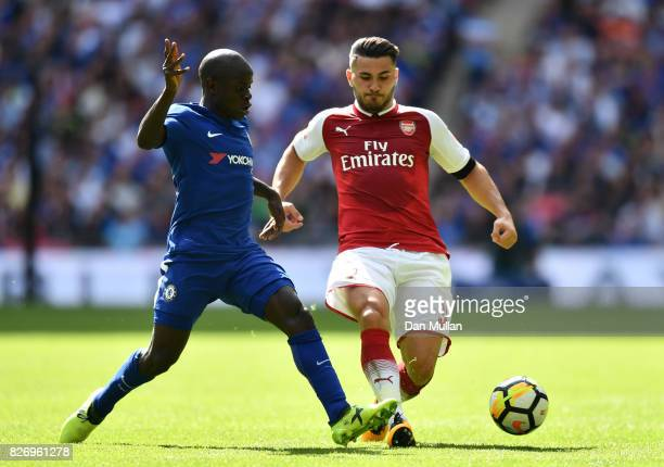 Golo Kante of Chelsea and Sead Kolasinac of Arsenal battle for possession during the The FA Community Shield final between Chelsea and Arsenal at...