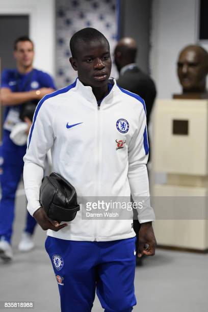 Golo Kante of Chelsea arrives at the stadium prior to the Premier League match between Tottenham Hotspur and Chelsea at Wembley Stadium on August 20...