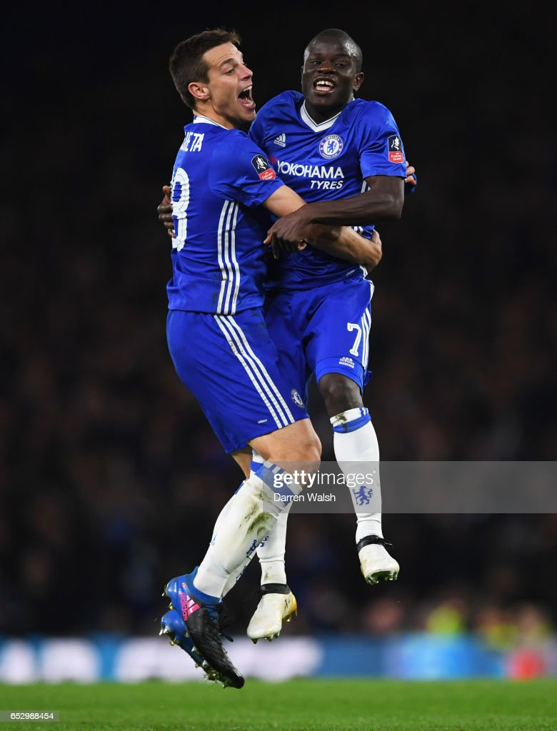 N'Golo Kante of Chelsea (7) celebrates as he scores their first goal with Cesar Azpilicueta during The Emirates FA Cup Quarter-Final match between Chelsea and Manchester United at Stamford Bridge on March 13, 2017 in London, England.