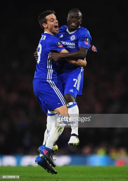 Golo Kante of Chelsea celebrates as he scores their first goal with Cesar Azpilicueta during The Emirates FA Cup QuarterFinal match between Chelsea...