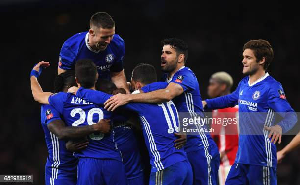 Golo Kante of Chelsea celebrates as he scores their first goal with team mates during The Emirates FA Cup QuarterFinal match between Chelsea and...