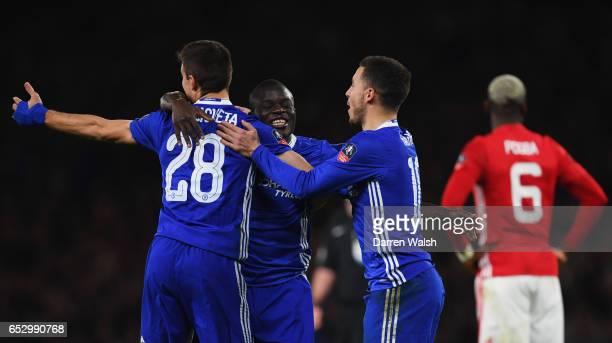 Golo Kante of Chelsea celebrates as he scores their first goal with Cesar Azpilicueta and Eden Hazard during The Emirates FA Cup QuarterFinal match...