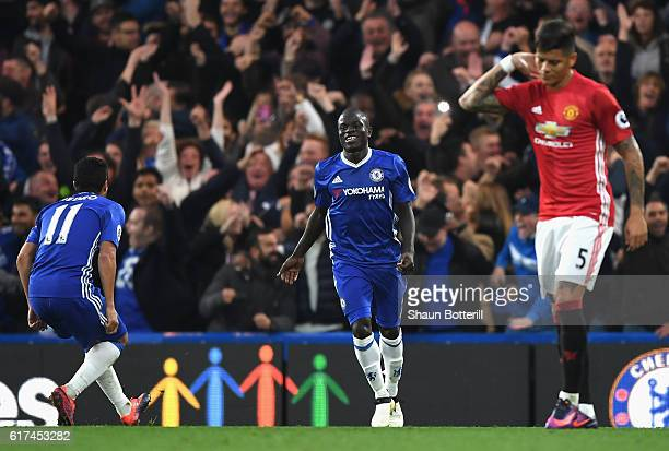 Golo Kante of Chelsea celebrates scoring his sides fourth goal during the Premier League match between Chelsea and Manchester United at Stamford...