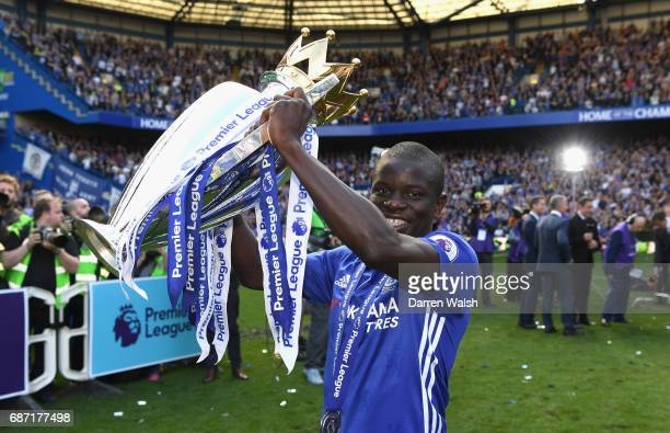 Golo Kante of Chelsea celebrates winning the league following the Premier League match between Chelsea and Sunderland at Stamford Bridge on May 21...