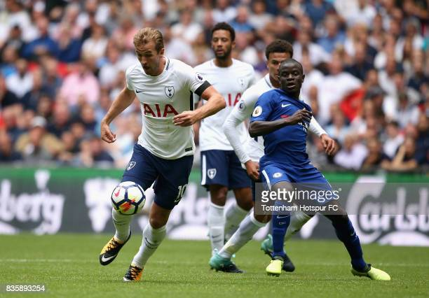 Golo Kante of Chelsea closes down Harry Kane of Tottenham Hotspur during the Premier League match between Tottenham Hotspur and Chelsea at Wembley...