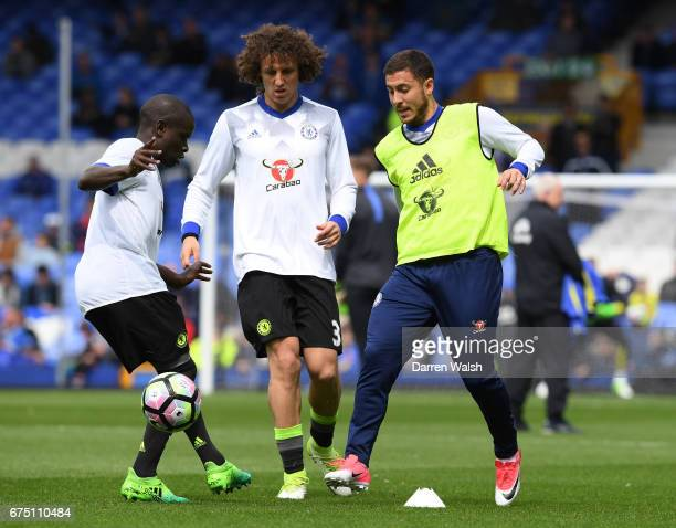 Golo Kante of Chelsea David Luiz of Chelsea and Eden Hazard of Chelsea all compete for the ball while warming up prior to the Premier League match...