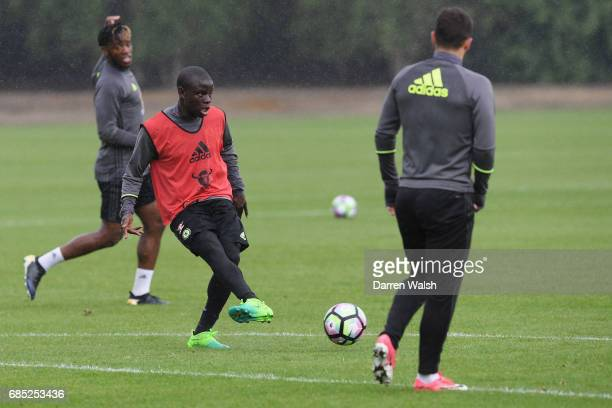 Golo Kante of Chelsea during a training session at Chelsea Training Ground on May 19 2017 in Cobham England