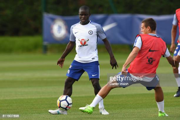 Golo Kante of Chelsea during a training session at Chelsea Training Ground on July 10 2017 in Cobham England