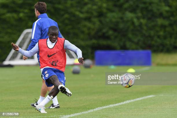 Golo Kante of Chelsea during a training session at Chelsea Training Ground on July 11 2017 in Cobham England