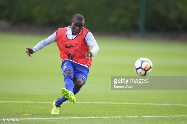 Golo Kante of Chelsea during a training session at Chelsea Training Ground on August 4 2017 in Cobham England