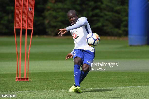 Golo Kante of Chelsea during a training session at Chelsea Training Ground on August 10 2017 in Cobham England