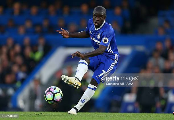 N'golo Kante of Chelsea during the Premier League match between Chelsea and Manchester United at Stamford Bridge on October 23 2016 in London England