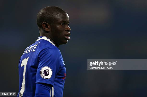 N'golo Kante of Chelsea during the Premier League match between Chelsea and Hull City at Stamford Bridge on January 22 2017 in London England