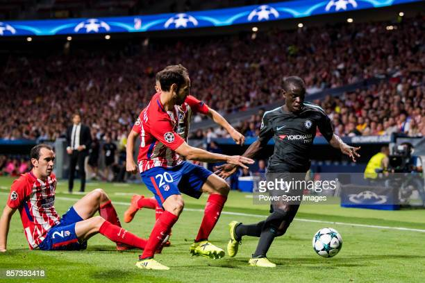 Golo Kante of Chelsea FC fights for the ball with Juan Francisco Torres Belen Juanfran of Atletico de Madrid during the UEFA Champions League 201718...